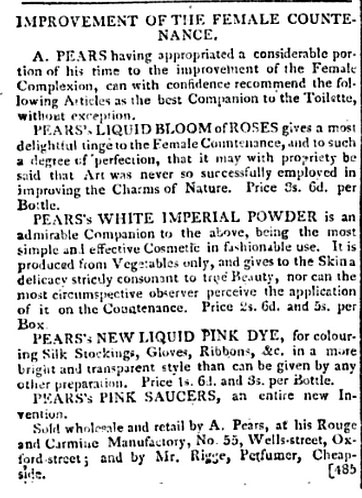 Advert for Pear's products from La Belle Assemblée (Vol II, Jan-June 1807)