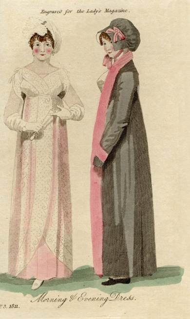 A fashion plate from Lady's Magazine (March 1811)