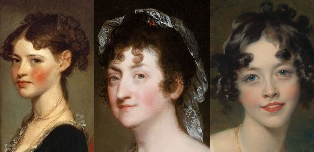 Ann Penington by Gilbert Stuart (1805); Hepzibah Clarke Swan by Gilbert Stuart (1808); and Lady Maria Conyngham by Thomas Lawrence (c. 1824-25)