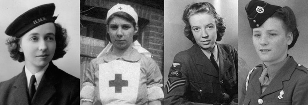 "Various occupations where hair was required to be up and out of the way. L to R: British Red Cross nurse; WAAF radar operator (indicated by the ""fist and sparks"" badge); and ATF girl (photos c. 1940-1945)"
