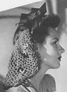 A knitted snood and ribbons (1943)
