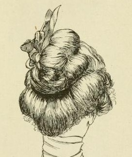 Back view of woman's Edwardian hairstyle