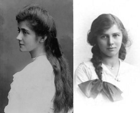 Long hair of Edwardian girls