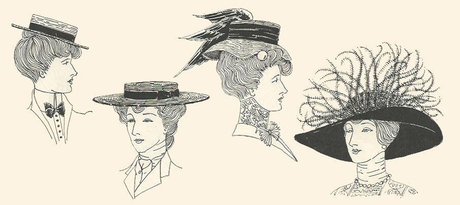 Ladies Edwardian hairstyles and hats