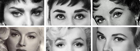 women's 1950s makeup and brow shapes