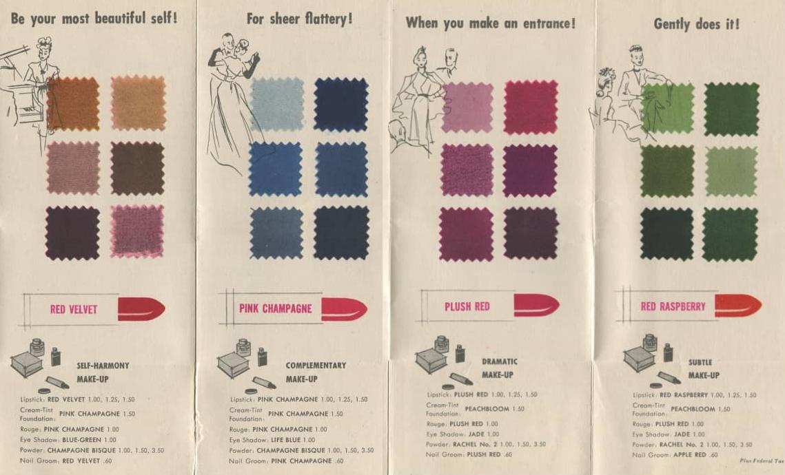 women's 1940s makeup colour chart