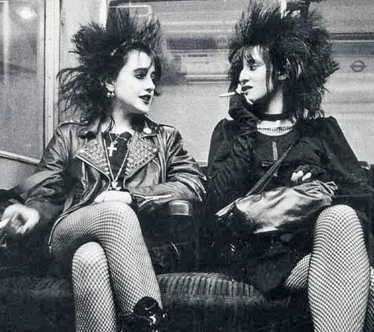 Punk girls on the underground in London