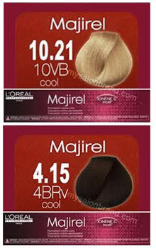 The ICC system used on professional tints. The top colour is a lightest blonde with cool ash tones, and a medium brown with cool mahognany (chocolate brown)