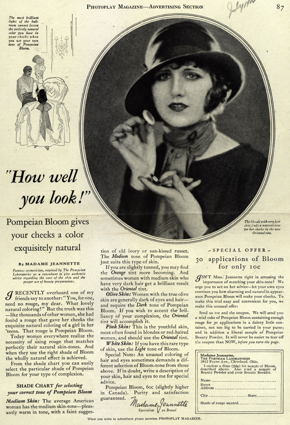 Pompeian Bloom Rouge 1924 Hair And Makeup Artist Handbook - 1920s-makeup-ads
