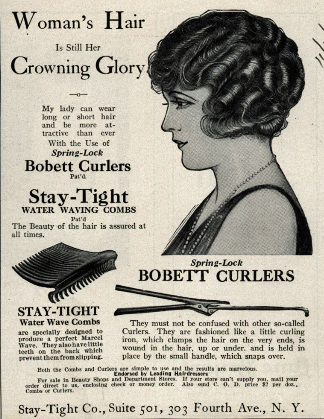 Women's 1920s hair and curlers