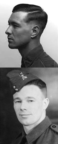 Middle regulation haircuts. The picture on the left was taken during World War II (1939-1945)