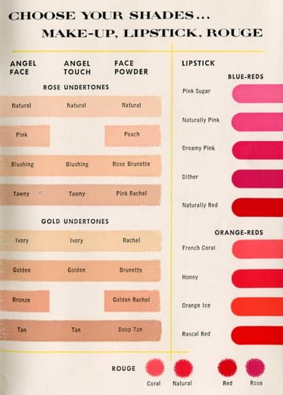 1950s makeup colours