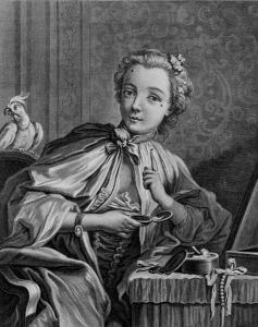 """Engraving by Gilles Edmé Petit, """"The Morning or Lady at her Toilet"""", showing application of patches"""