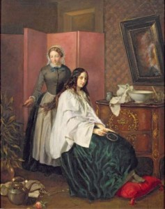 """Lady's maid """"Combing My Lady's Tresses"""" by Jean-Baptiste-Antoine-Emile Béranger (1814-1883)"""