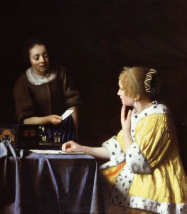 """""""Mistress and Maid"""" by Johannes Vermeer. https://commons.wikimedia.org/w/index.php?curid=464760"""