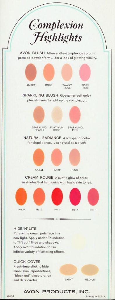 1967 makeup chart from Avon