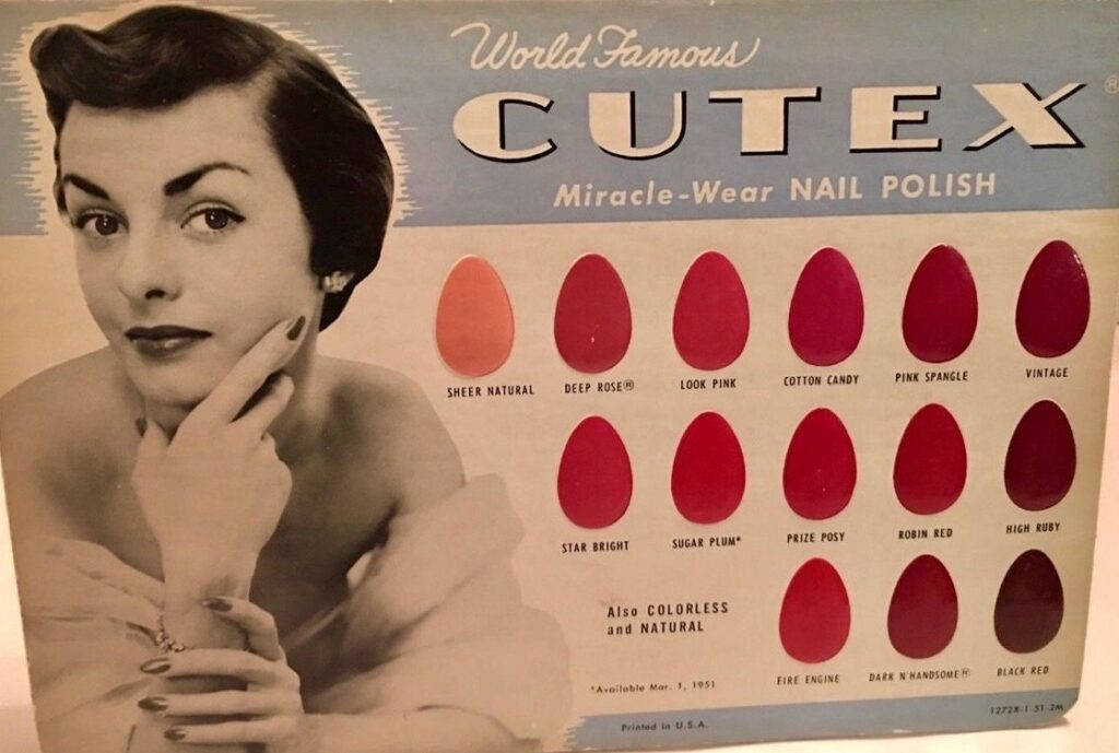 1950s makeup colour charts from Cutex