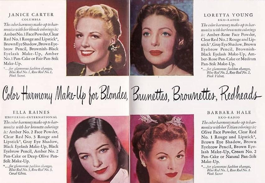 1950s makeup colour charts